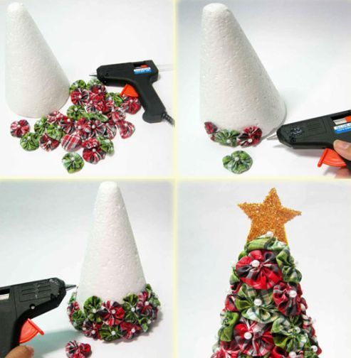 árvore de natal decorada com fuxicos