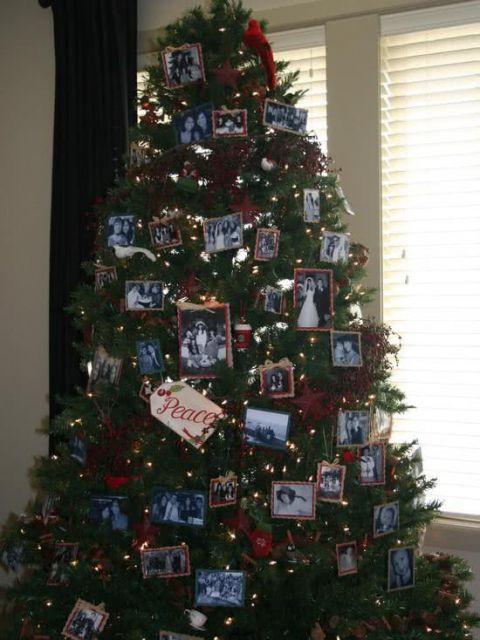 árvore de natal cheia de fotos