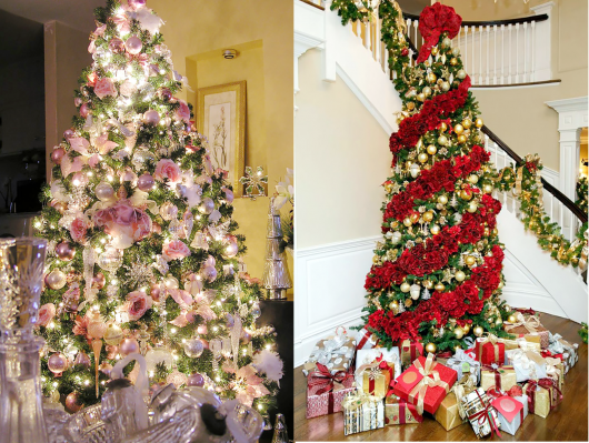 duas árvores de natal decoradas com flores
