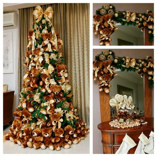 árvore de natal grande com ursinhos