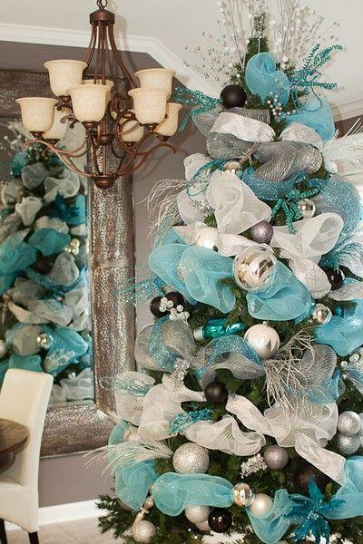 árvore de natal flores azuis