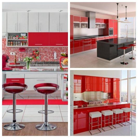 decoração de cozinha americana vermelha