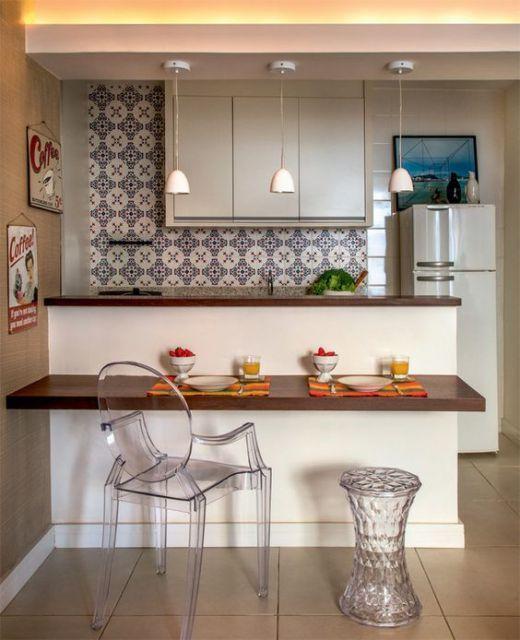decoração de cozinha americana pequena azulejos