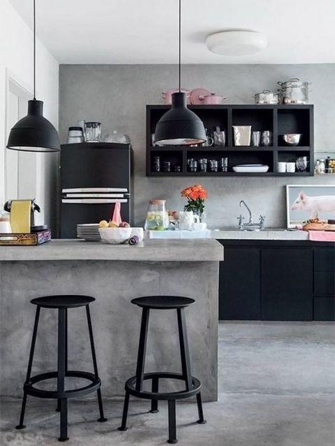 decoração de cozinha americana grande cinza