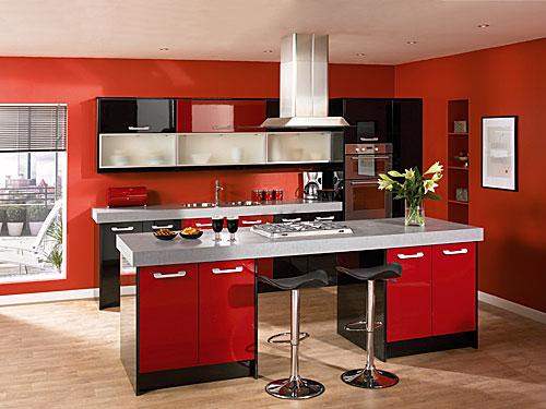 decoração de cozinha americana vermelha armários