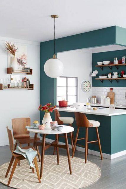 decoração de cozinha americana simples - verde