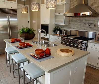 decoração de cozinha americana grande ilha