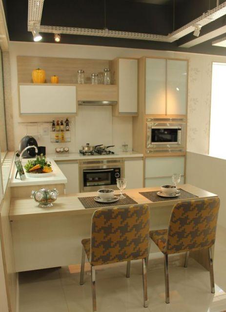 decoração de cozinha americana pequena moderna