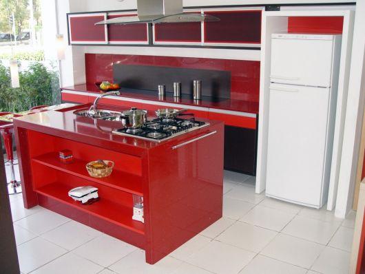 decoração de cozinha americana vermelha revestimento
