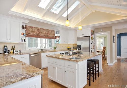 decoração de cozinha americana grande clean