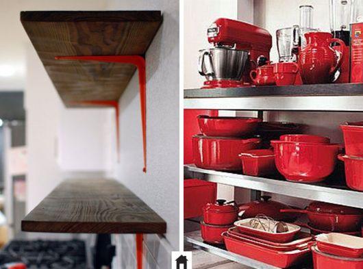 decoração de cozinha americana vermelha utensílios