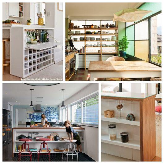 decoração de cozinha americana ideias com prateleiras