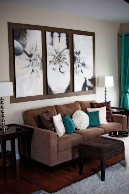 sala simples decoração marrom