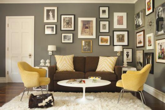 decoração marrom de sala simples