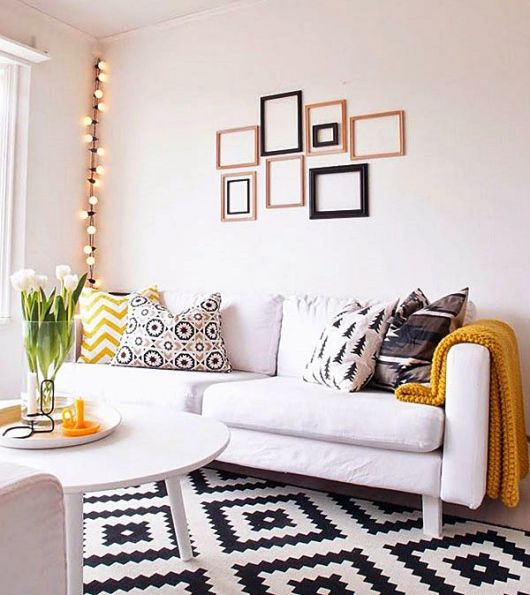sala simples tapete estampa p&b