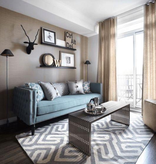 sala simples tapete estampa geométrica