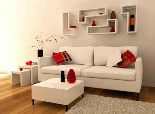 sala simples moderna com nichos