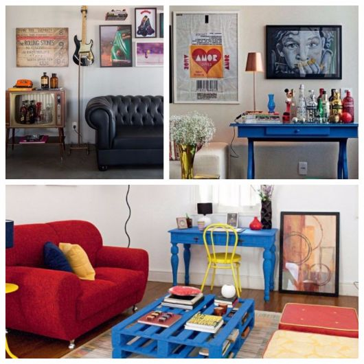 decoração de sala simples ideias retrô
