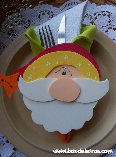 decoração Papai Noel para mesa