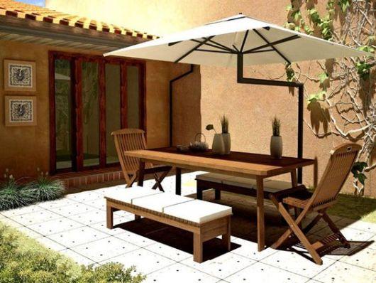 mesa retangular com guarda sol