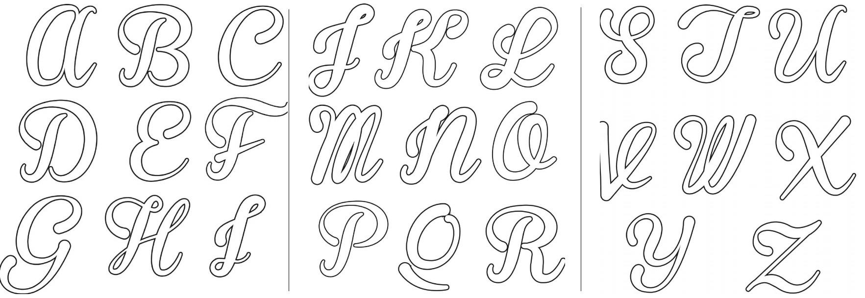 molde letra maiúscula cursiva