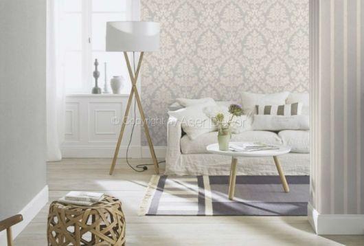 papel de parede arabesco branco