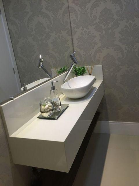 papel de parede arabesco lavabo