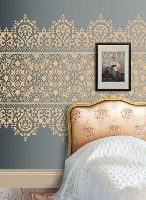 papel de parede arabesco faixa dourada