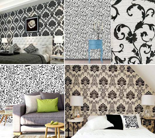 papel de parede arabesco preto