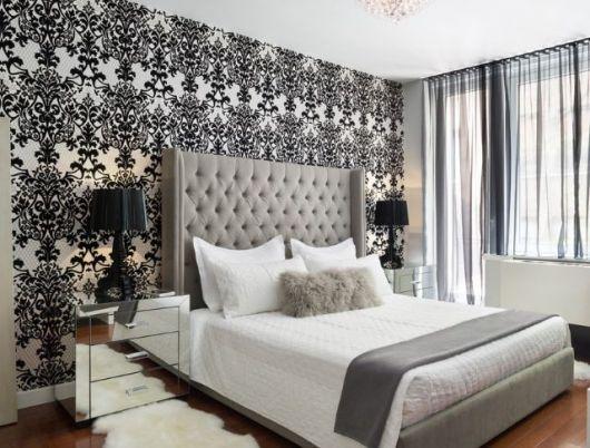 papel de parede arabesco preto preto no quarto