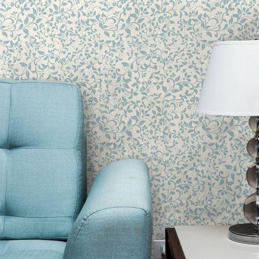 papel de parede arabesco azul na sala