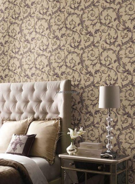 papel de parede arabesco dourado no quarto