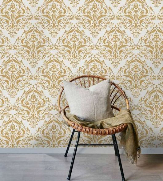 papel de parede arabesco sala