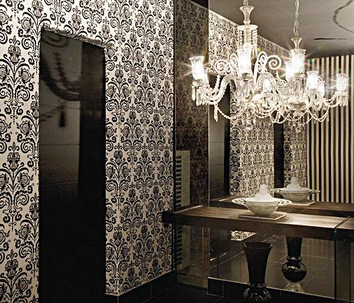 papel de parede arabesco preto p&b