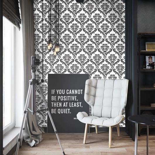 papel de parede arabesco preto sala