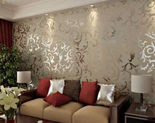papel de parede arabesco dourado metalizado