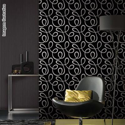 papel de parede arabesco preto escuro