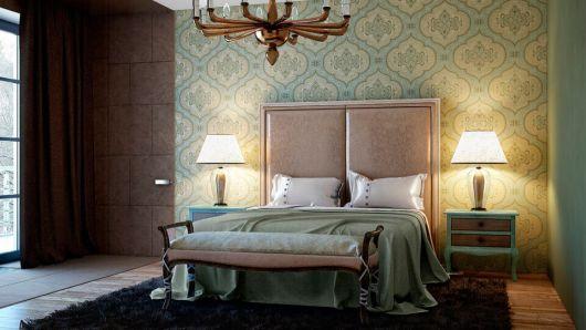 papel de parede arabesco verde