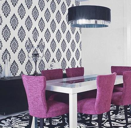 papel de parede arabesco na sala de jantar