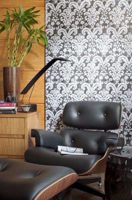 papel de parede arabesco preto escritório