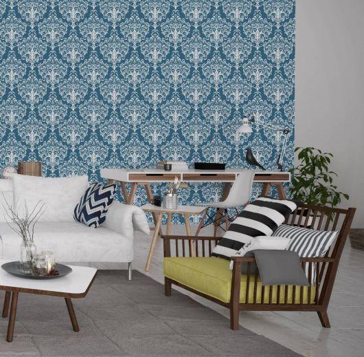 papel de parede arabesco azul para a sala