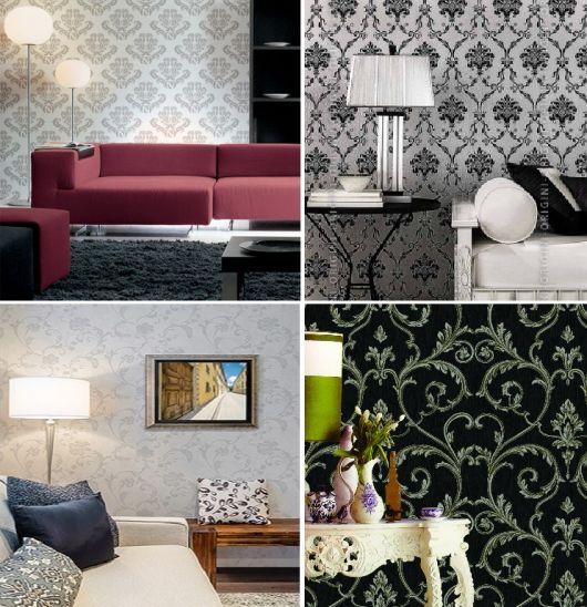 várias opções de papel de parede arabesco