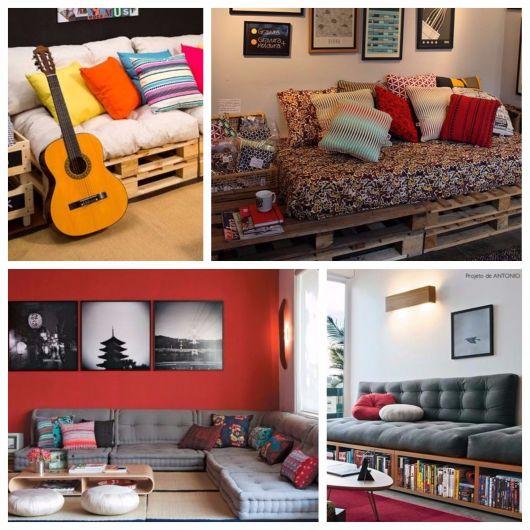quatro modelos de sofá futon