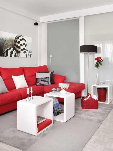 sofá vermelho de canto