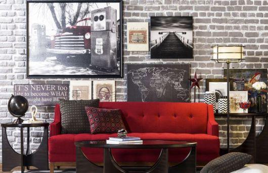 sofá vermelho vintage