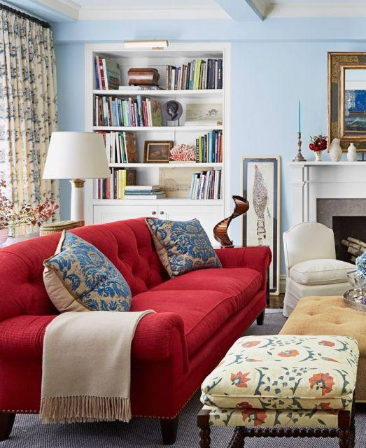 sofá vermelho para sala