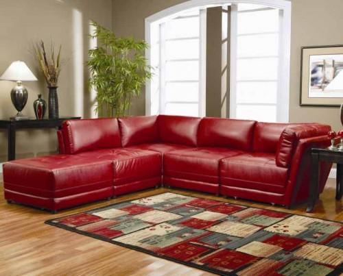 sofá vermelho de canto de couro