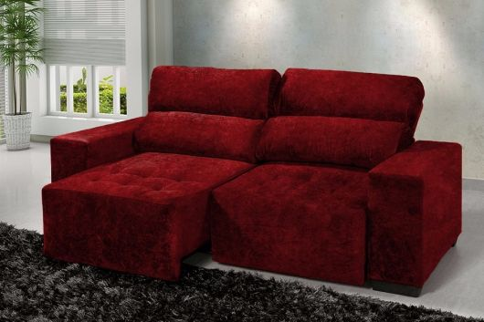 sofá vermelho veludo
