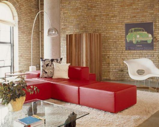 sofá vermelho estilo vintage