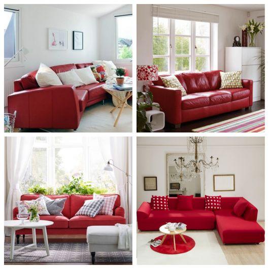 sofá vermelho modelos com almofada